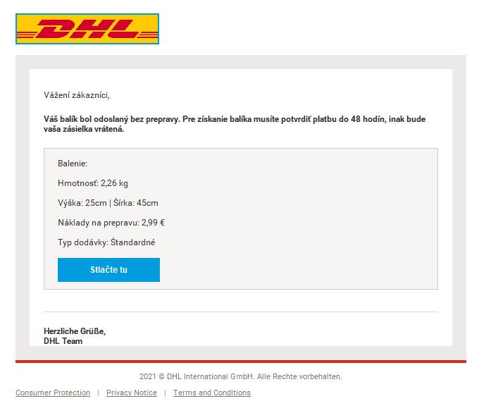 Podvodný e-mail vydávajúci sa za správu od dopravcu DHL