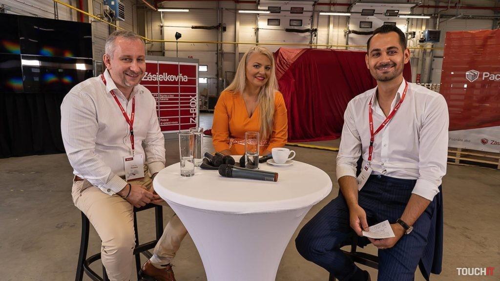 Prednášajúci zľava: Alexander Jančo, CEO Packeta Slovakia, Simona Kijonková, Founder a CEO Packeta Group, Daniel Tinz, COO Packeta. Zdroj: Ondrej Macko/TOUCHIT.sk