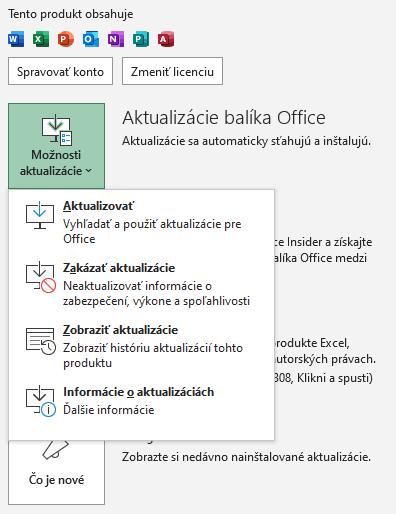 office excel update menu