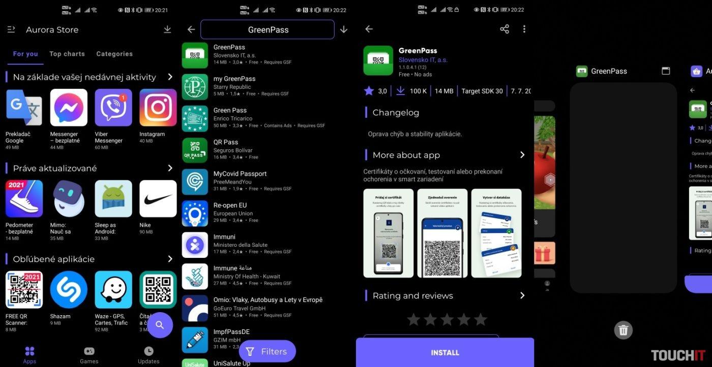 GreenPass Huawei telefón