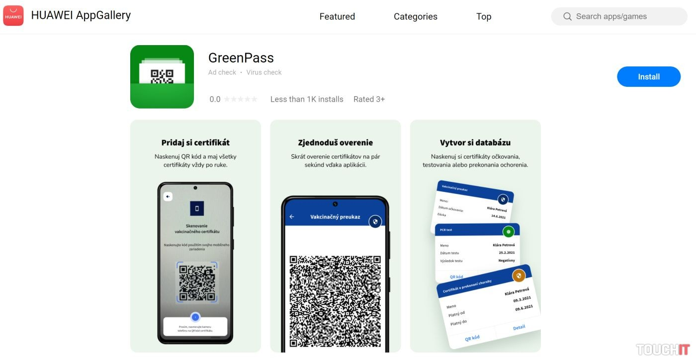 GreenPass v obchode Huawei AppGallery