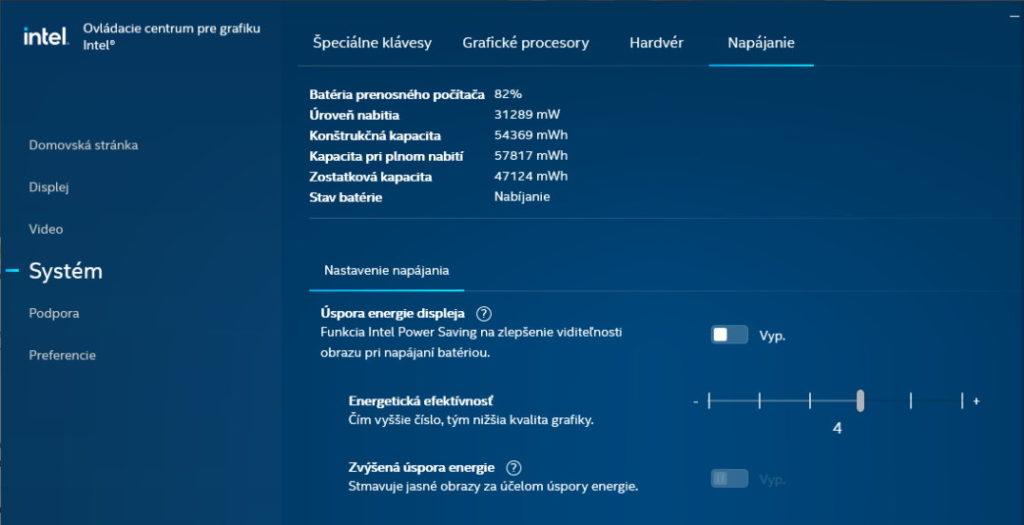 Nastavenie obrazovky cez nástroj od Intelu