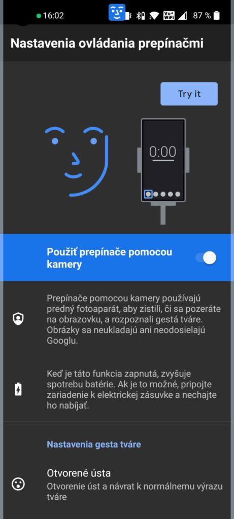 Ovládanie pomocou tváre Android