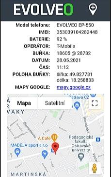 Lokalizácia polohy na telefóne EasyPhone