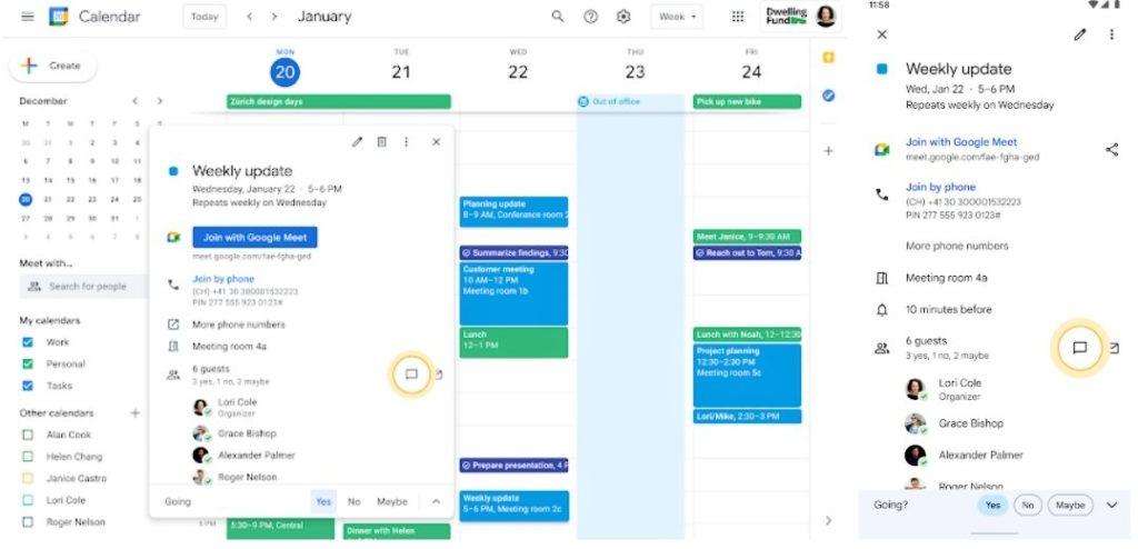Google kalendár a Chat