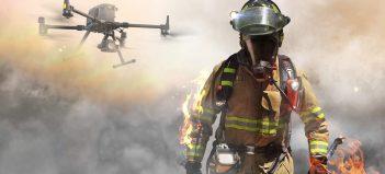 dron, požiar